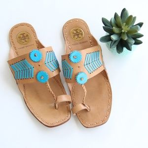 Tory Burch Caylan Blue Tan Leather Sandals
